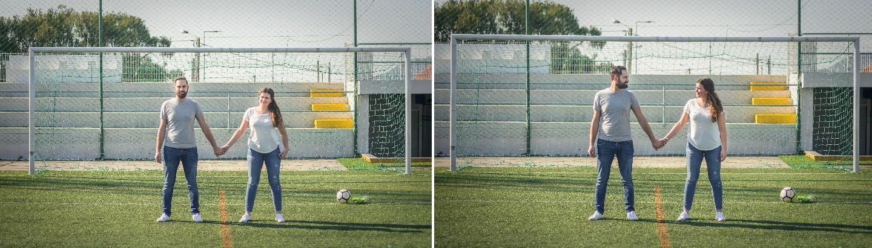 Célia e Andrea no campo de futebol