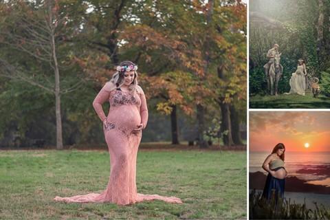 Sessão fotográfica pré-mamã no exterior